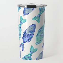 Indonesian Fish Duo – Navy & Turquoise Palette Travel Mug