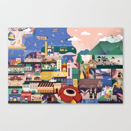 Kota Kinabalu Map Illustration Canvas Print