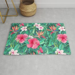 Classic Tropical Garden with Pink Flowers Rug