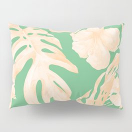 Tropical Palm Leaves Monstera and Hibiscus Jungle Green Coral Peach Pillow Sham