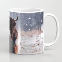 Bison in the snow Coffee Mug