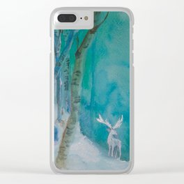 White Stag of the Winter Solstice Clear iPhone Case