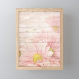 Romantic Vintage Shabby Chic Floral Wood Pink Framed Mini Art Print