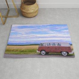 road trip in a vintage camper Rug