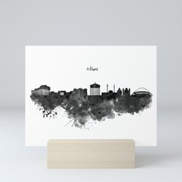 Athens Black and White Skyline Mini Art Print