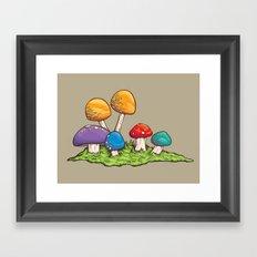 Mushrooms (Colors) Framed Art Print