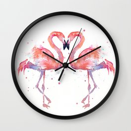 Pink Flamingo Love Two Flamingos Wall Clock