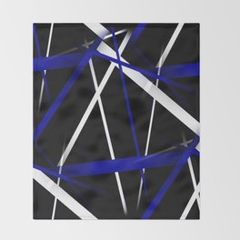Seamless Royal Blue and White Stripes on A Black Background Throw Blanket