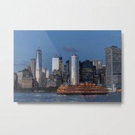 NYC Skyline & The Boat Metal Print