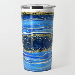 Cobalt blue and gold geode in watercolor Travel Mug