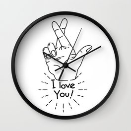 I love you - Fingers Crossed Wall Clock