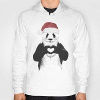 santa Hoodies featuring Santa panda by Balazs Solti