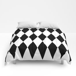 LARGE  WHITE AND BLACK   HARLEQUIN DIAMOND PATTERN Comforters