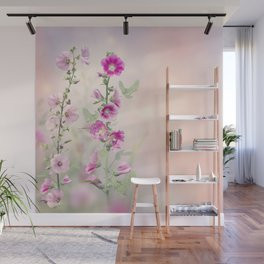 Pink and red Hollyhock flowers blooming in the garden Wall Mural