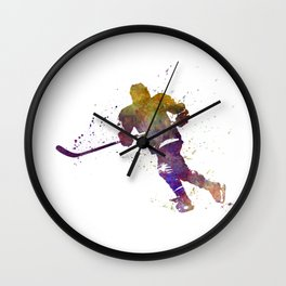 Skater with stick in watercolor Wall Clock