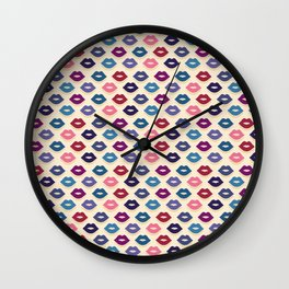 Retro Lips Pattern Wall Clock
