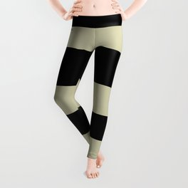 Natural Olive Green - Martinique Dawn - Asian Silk Hand Drawn Fat Horizontal Lines on Black Leggings