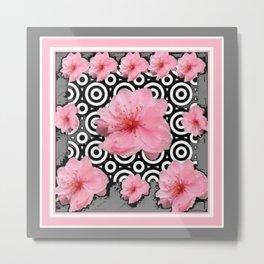 "Grey ""Art Deco"" Cherry Blossom Pattern Art Metal Print"