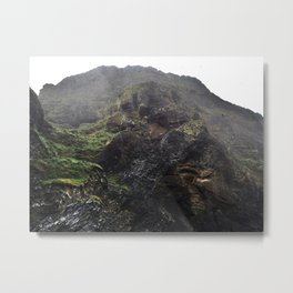 Puffins at Reynishverfi Black Sand Beach on the Southern Coast of Iceland (2) Metal Print