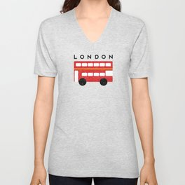 London Double Decker Red Bus Unisex V-Neck