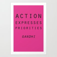 Action Gandhi Quote Art Print