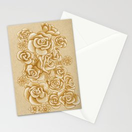 Golden Roses Stationery Cards