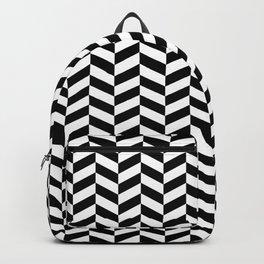 Black and White Herringbone Pattern Design Backpack