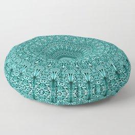 Turquoise Geometric Floral Mandala Floor Pillow