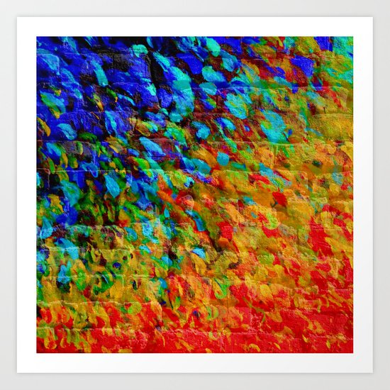 COLLISION COURSE - Bold Rainbow Splash Bricks Urban Jungle Ocean Waves Nature City Acrylic Painting Art Print