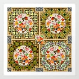 Persian Tile Butterfly Variation Art Print