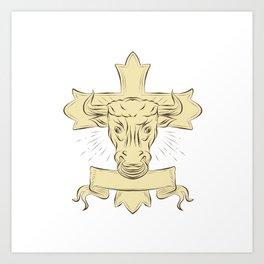 Taurus Bull Christian Cross Drawing Art Print