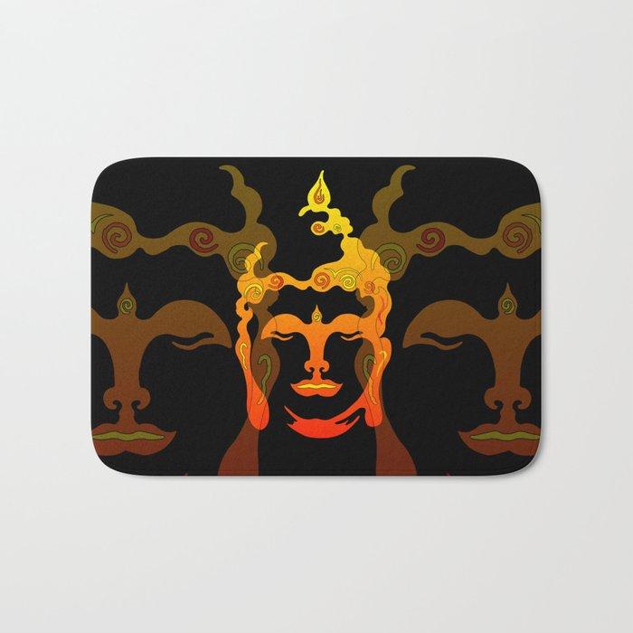 Illustration Buddha Head orange black design Bath Mat