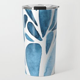 Watercolor artistic drops - blue Travel Mug