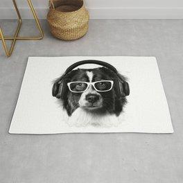 Cute Dog, Headphones and glasses Rug