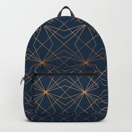 Navy & Copper Geo Lines Backpack