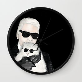 Kalr Lagerfeld with his cat Choupette Wall Clock