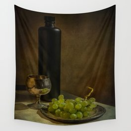 Still life with wine and green grapes Wall Tapestry