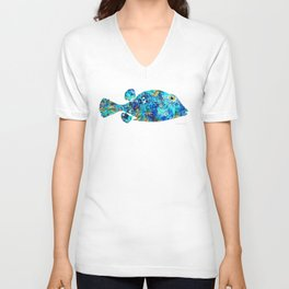 Blue Puffer Fish Art by Sharon Cummings Unisex V-Neck