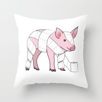 piglet Throw Pillows featuring Piglet by Doctor Hue