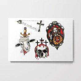Jesus Tattoo Flash Metal Print