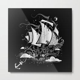 Sailing ship above the clouds Metal Print