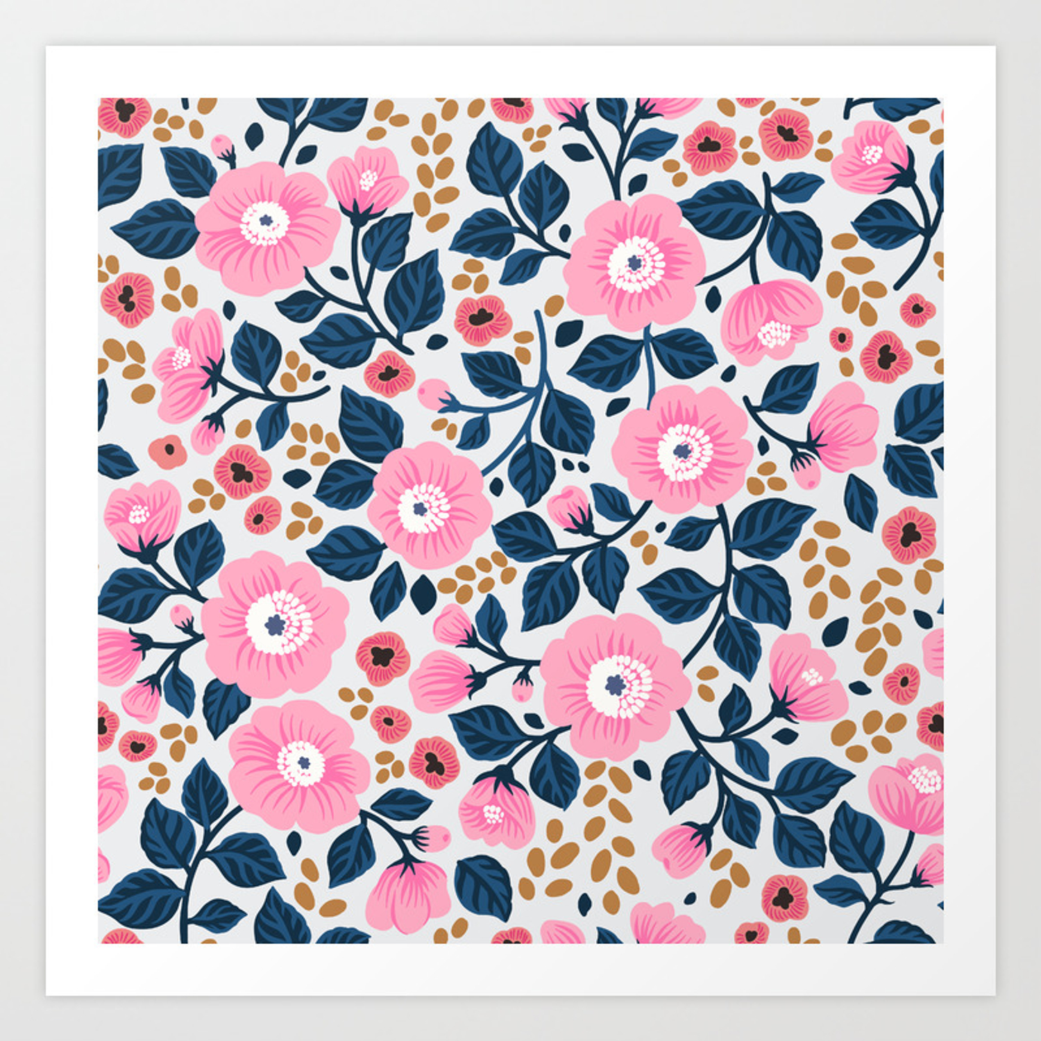 07 Floral Pattern White Background Pink Flowers Art Print By