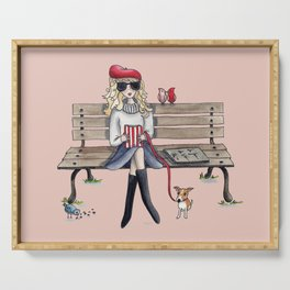 Margaux and her dog at the park Serving Tray