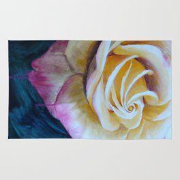 Pink and Yellow Rose painting Rug