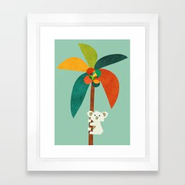 Koala on Coconut Tree Framed Art Print