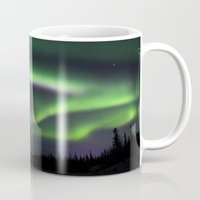 northern lights Mugs featuring Northern Lights by Pamela Barron