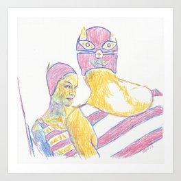 Swim Cap Cat Art Print