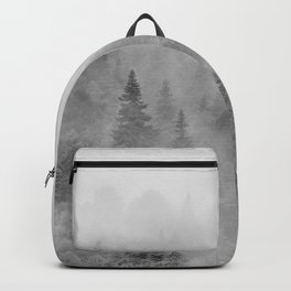 Foggy sunrise. BW. Pinsapos into the woods. Square Backpack