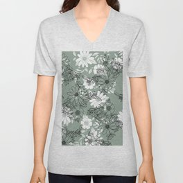 Vintage green black white hand drawn floral Unisex V-Neck