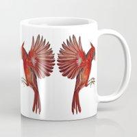 cardinal Mugs featuring Cardinal by Jody Edwards Art